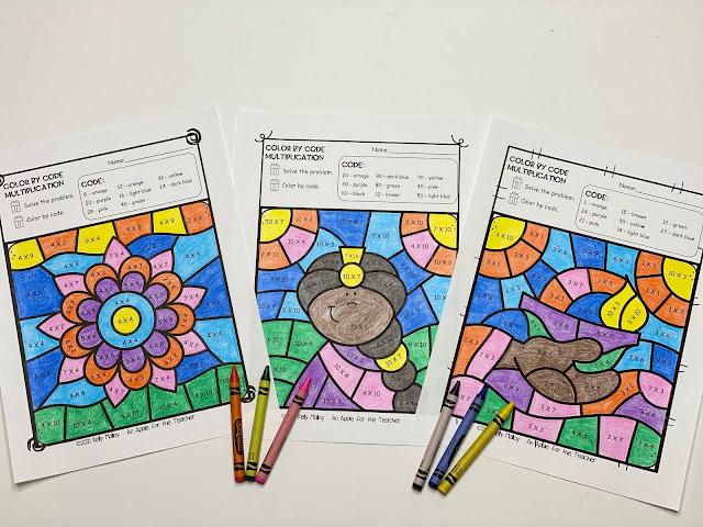 Diwali Color By Number Multiplication Worksheets