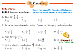 LENGKAP !!! Kunci Jawaban Uji Kopetensi Halaman 43 Matematika Kelas 5 Kurikulum 2013