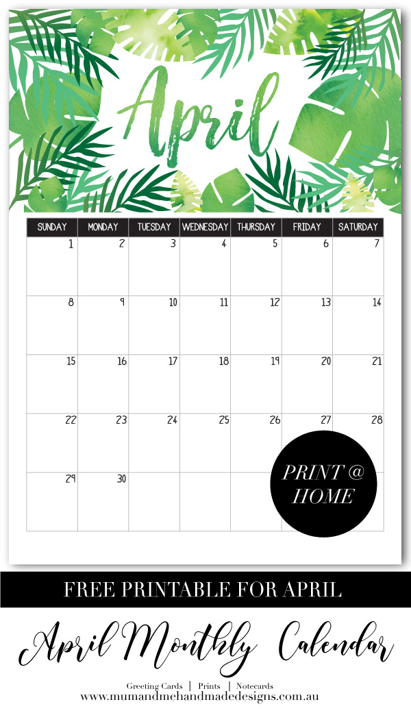 Free Printable Monthly Calendar - Palm Leaves by Mum and Me Handmade Designs