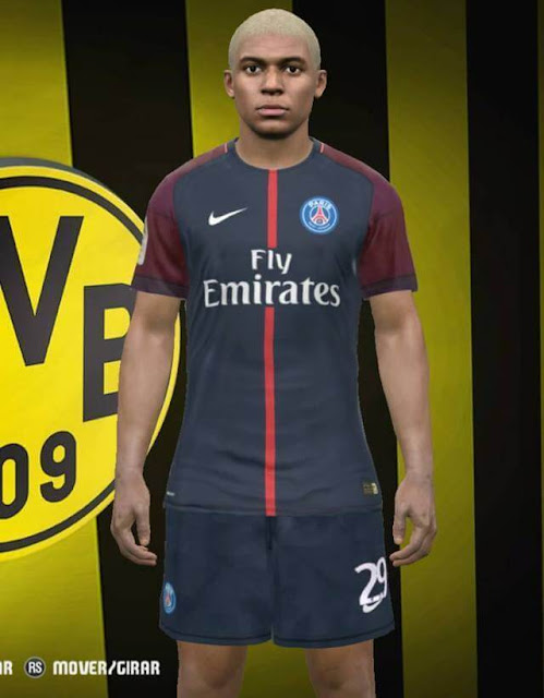 Kylian Mbappe Face with Blonde Hair - PES 2017 - PATCH PES