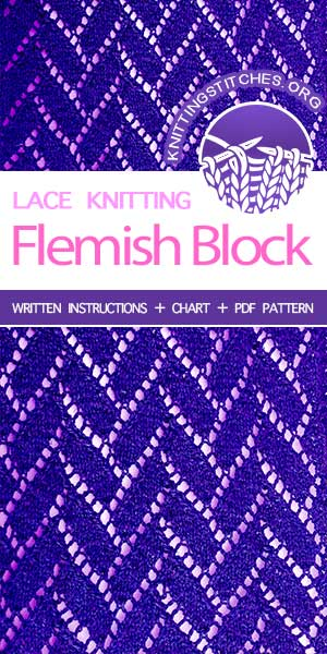 Free Knitting Patterns — #LaceKnitting Flemish Block stitch #knittingpatterns