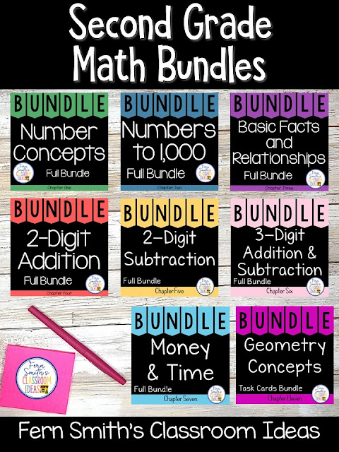 You can click on the picture or the caption below it to arrive at my TpT store already sorted for the grade level items you want for your class. Second Grade Go Math Bundles for your Second Grade and Third Grade Students. #FernSmithsClassroomIdeas