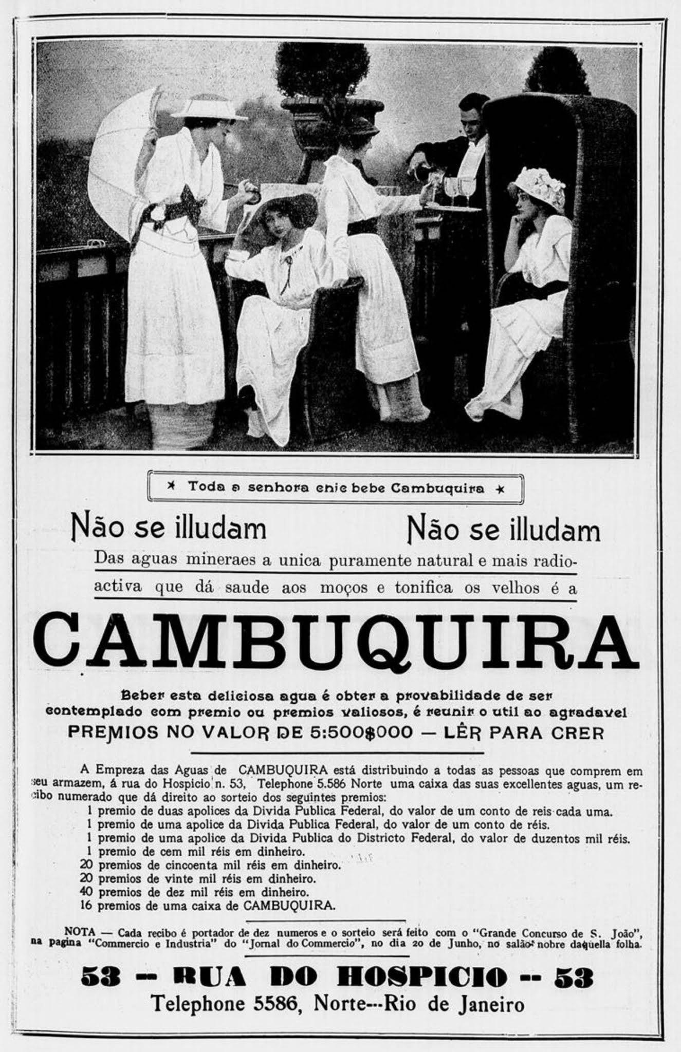 Propaganda antiga da Água Cambuquira veiculada no ano de 1915