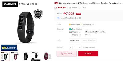 Garmin Vivosmart 4 Wellness and Fitness Tracker Smartwatch