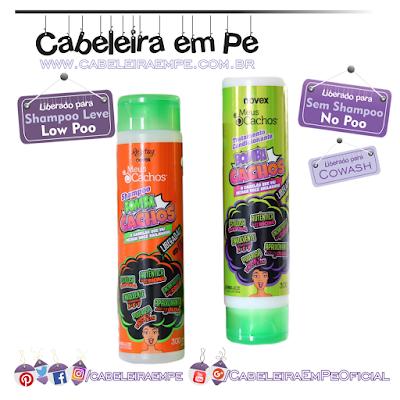 Novex Bomba Cachos - Embelleze (Shampoo liberado para Low Poo, Condicionador liberado para No Poo e Cowash)