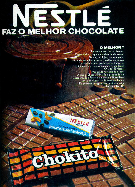 Propaganda antiga da Nestlé promovendo a qualidade do chocolate produzido em 1972
