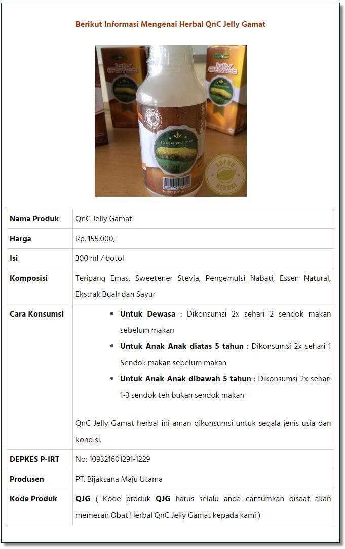 Informasi QnC Jelly Gamat