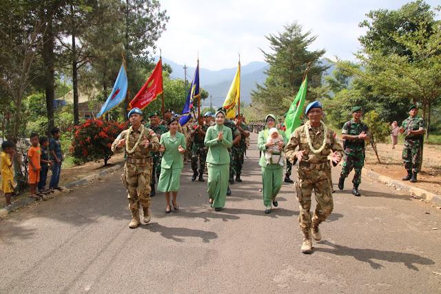 Penyambutan Anggota Yonif Para Raider 330 Kostrad Lepas Tugas Misi Perdamaian PBB