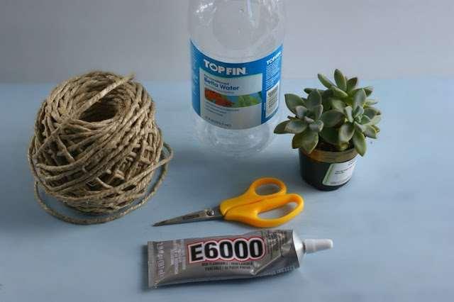 Diy γλάστρα από ανακύκλωση πλαστικών μπουκαλιών και σπάγκο