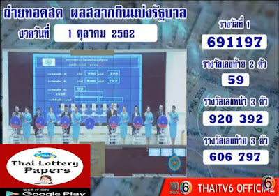 Thailand Lottery live results 01 October 2019 Saudi Arabia on TV