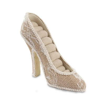 Simulated White Lace Covered High Heel Ring Holder