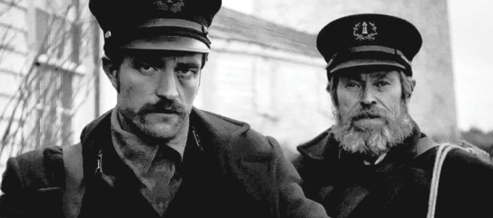 Robert Pattinson and Willem Dafoe as two lighthousemen in The Lighthouse