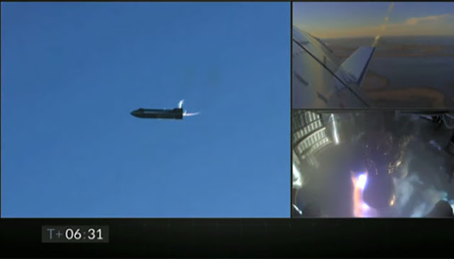 Starship SN8 begins belly flop maneuver around T = 06:31 minutes after launch  (Source: SpaceX)