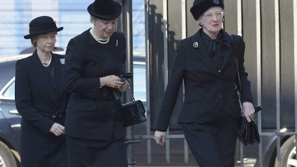 Queen Margrethe II of Denmark attended the funeral of family friend Peter Heering