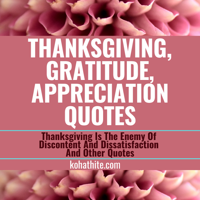 Thanksgiving, Gratitude, Appreciation Quotes | Thanksgiving Is The Enemy Of Discontent And Dissatisfaction And Other Quotes