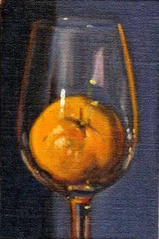 Oil painting of a mandarine inside a large wine glass, with an indigo background.