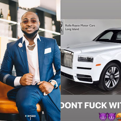 Davido acquires brand new Rolls-Royce Cullinan 2019 worth 350 million naira To Celebrate Christmas