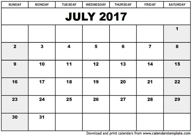Get Printable Calendar  July  Printable Blank Calendar Templates