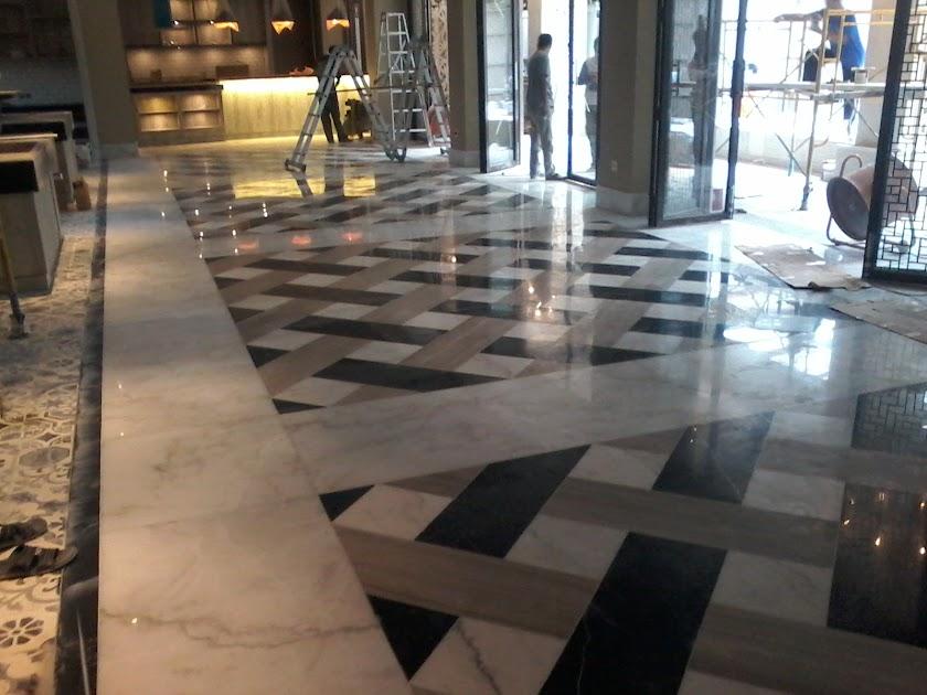Hasil lantai marmer setelah di poles/selep dan di kristalisasi