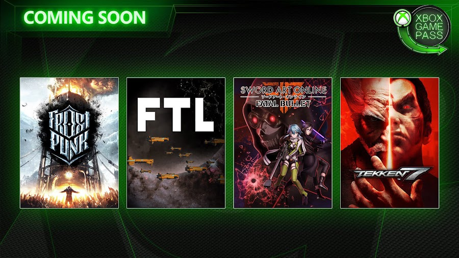 xbox game pass frostpunk ftl faster than light sword art online fatal bullet tekken 7 xb1 2020