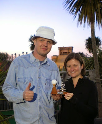 Brad Shepherd and Emily Gottfried at the 2010 Lost World Adventure Golf tournament in Hemsby