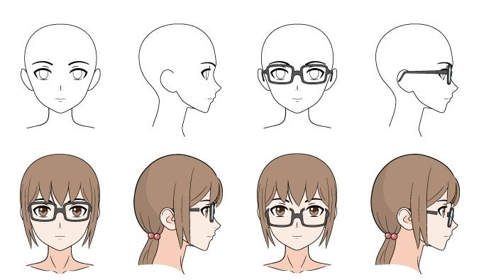 Kacamata anime menggambar contoh