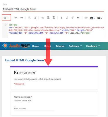 send form melalui embed html