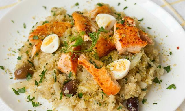 Salmon with Moroccan Quinoa and Quail Egg