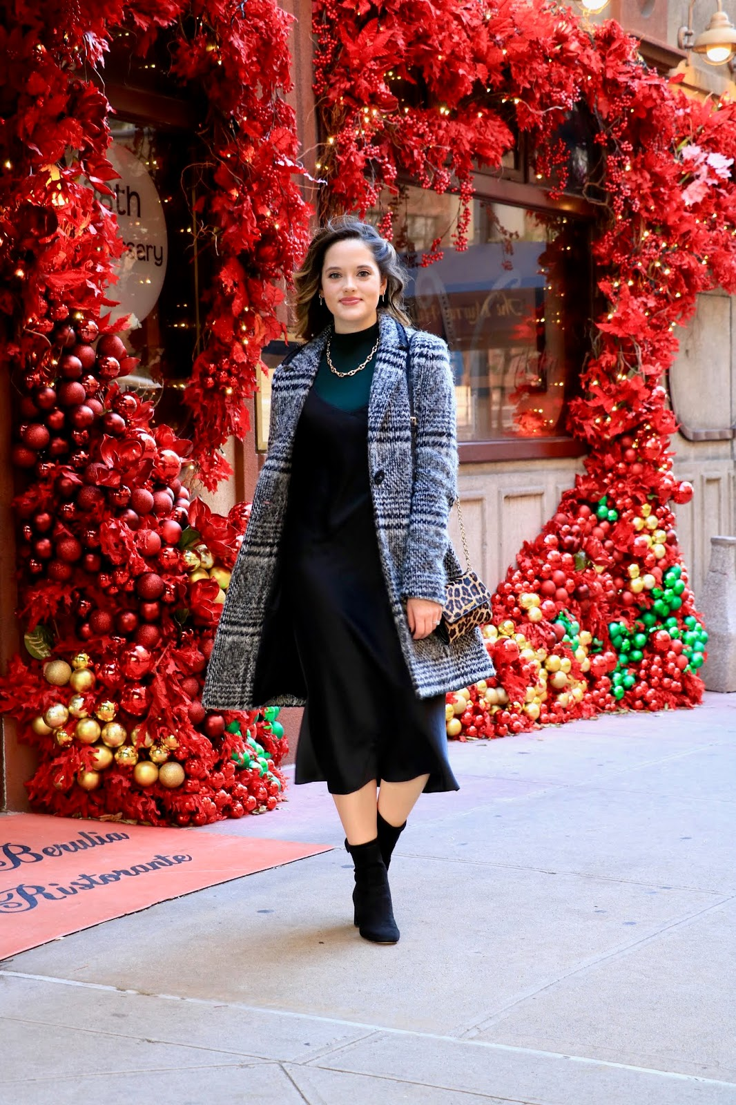 Nyc fashion blogger Kathleen Harper wearing an office holiday party outfit in New York City.
