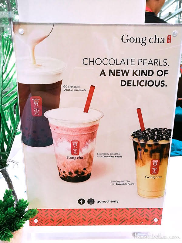 Gong Cha Signature Double Chocolate, Strawberry Smoothie with Chocolate Pearls and Earl Grey Milk Tea with Chocolate Pearls