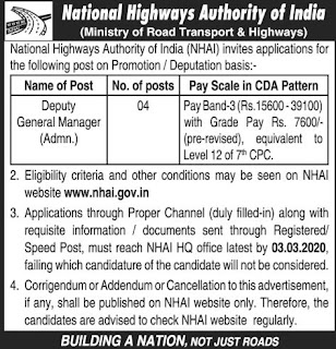 NHAI Jobs 2020: NHAI Recruitment (170 Vacancies Opening)