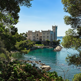 The Castello di Miramare overlooks the harbour at Grignano, along the coast from Trieste