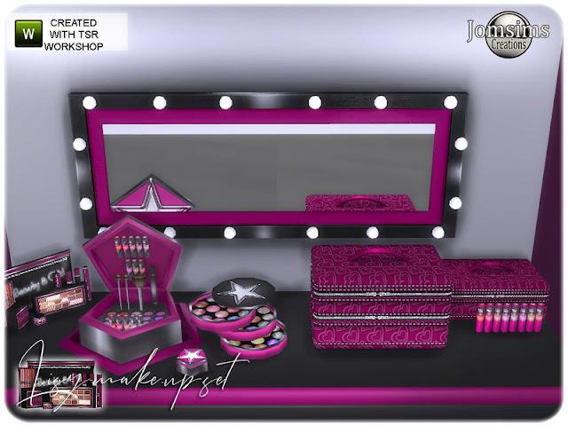 Lisy decor make up set Набор для макияжа Lisy decor для The Sims 4 Новый косметический уголок в 4 оттенках. Разнообразная поверхность стола. настенная полка с лаком для ногтей deco.misc поверхностная полка для губных помад. настенное зеркало. установить макияж микс. компактный порошок деко. коробка для макияжа с декоративным макияжем. слойка, зона обеденного кресла, анимация стула, есть кресло анимации. круглая коробка для теней. косметика маленькая, багажник тщеславие, а вторая более маленькая. идеальный набор для создания вашего нового художественного пространства. Автор: jomsims