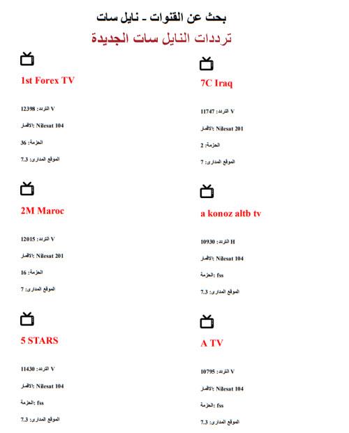 ترددات النايل سات الجديدة الجديدة كاملة باسماء القنوات pdf