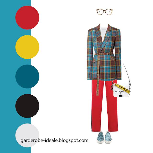 Сочетание красного, желтого и голубого цветов в одежде