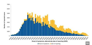 The easing of the lockdown began on 20 April, when the country allowed small shops to reopen after this, Germany Experiences declining  COVID-19 infection rate. In the above graph Germany's cases from the country's official institute for infectious diseases.