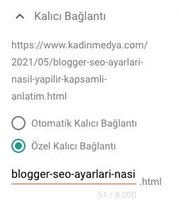Blogger SEO - Kalıcı Bağlantı Ayarları