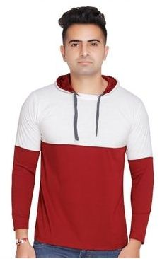 Men's Cotton Blend Colourblocked Hooded Tees