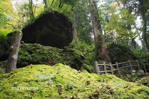 下から見る大きな岩