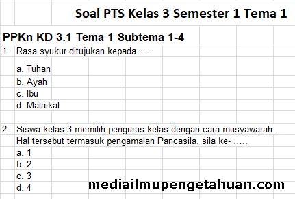 Soal dan Kunci Jawaban UTS-PTS Kelas 3 Semester 1 Tema 1 Kurikulum 2013