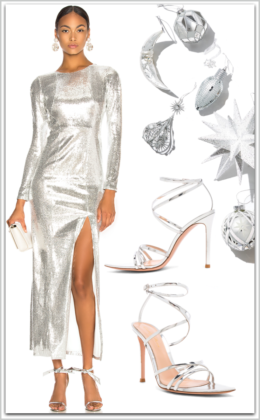 GALVAN  Adela Dress shown in Silver
