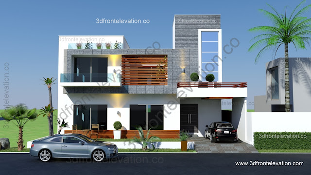 3d front front design Construction cost of 5 marla house