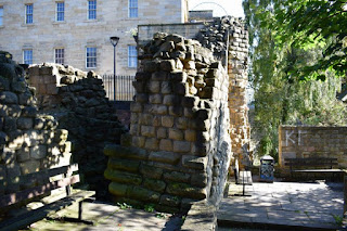 remains of Curtain Walls at Castle Keep, Newcastle upon Tyne. September 2017