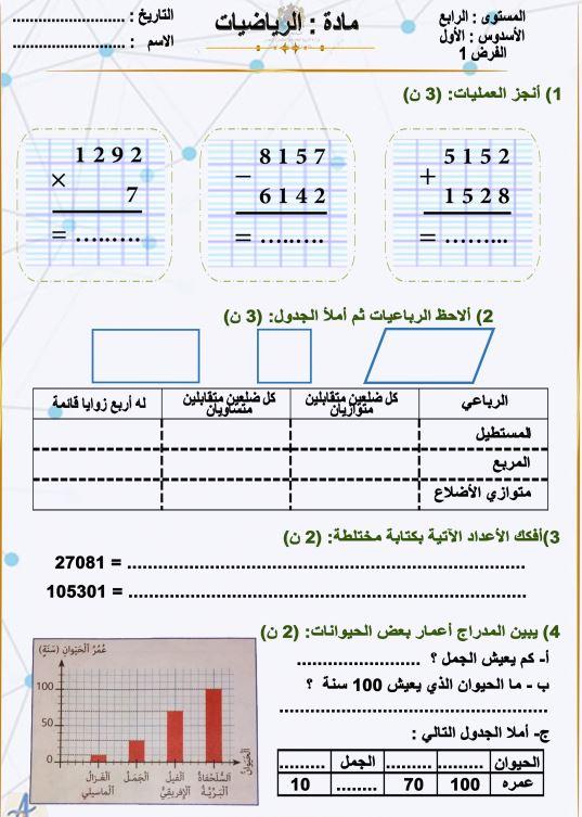 نموذج الفرض الأول في  الرياضيات المرحلة الأولى المستوى الرابع