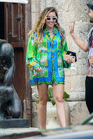 Miley Cyrus in Green Shirt Dress at miami beach