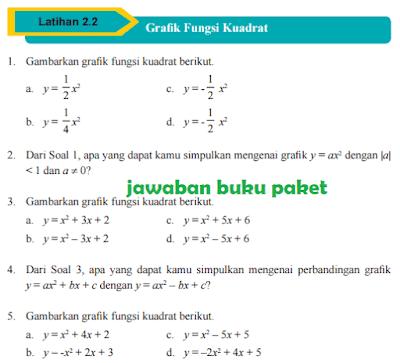 Kunci Jawaban Buku Paket MATEMATIKA Latihan 2.2 Grafik Fungsi Kuadrat Halaman 92 93 Kelas 9 Kurikulum 2013 www.jawabanbukupaket.com