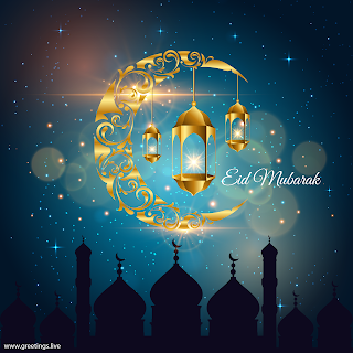 eid mubarak greetings images mosque crescent moon