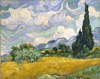 Vincent van Gogh's Wheat Field with Cypresses painting, created in 1889, has similarities with the Starry Night.