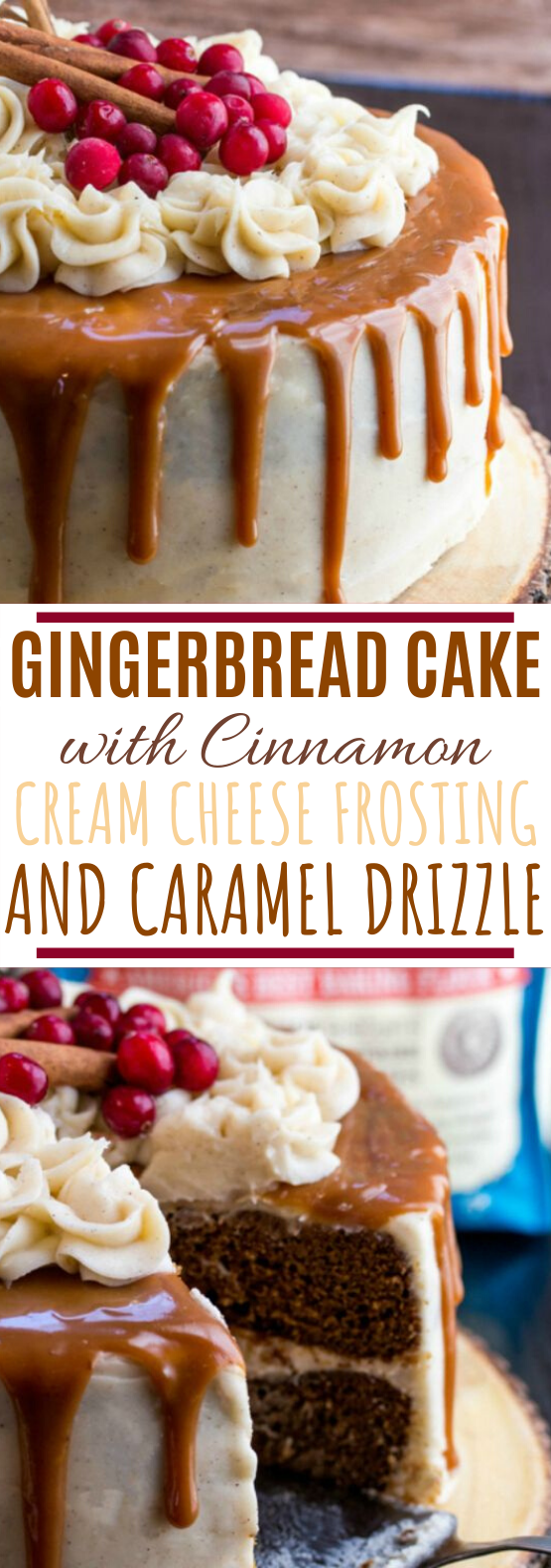 Gingerbread Cake with Cinnamon Cream Cheese Frosting #cakes #desserts #baking #christmas #holiday