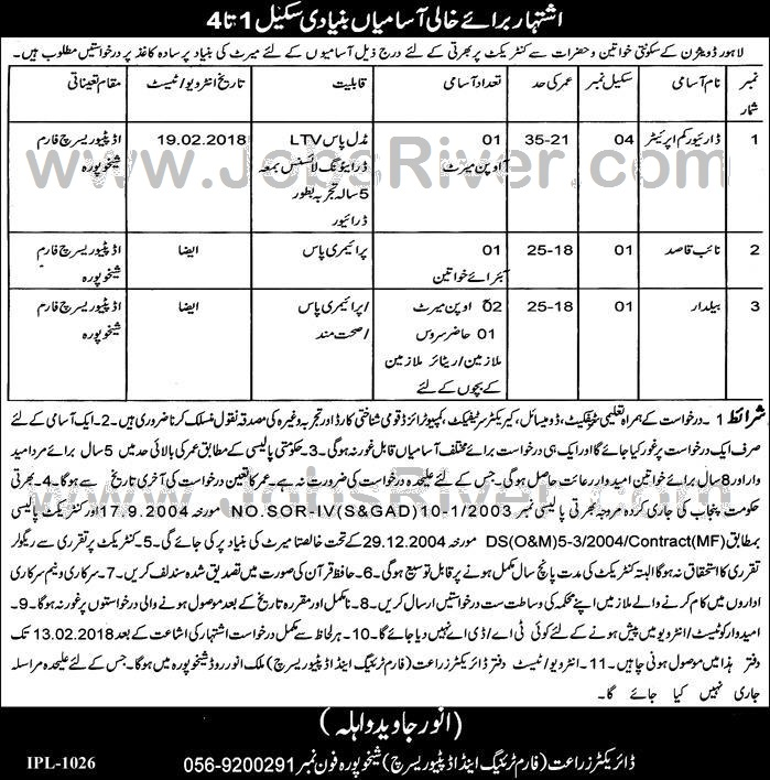 Jobs In Agriculture Department Lahore Division January 2018